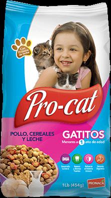 GATITOS POLLO, CEREALES Y LECHE